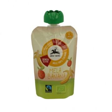 Alce Nero - Био бебешко пюре от ябълки и банани пауч 100г