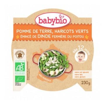 Babybio - Био меню с пуешко месо, картофи и зелен фасул купичка след 12 месеца 230г