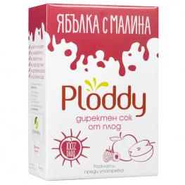 Ploddy - Студено пресован сок Ябълка с малина 3л