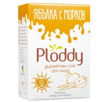 Ploddy - Студено пресован сок Ябълка с морков 3л